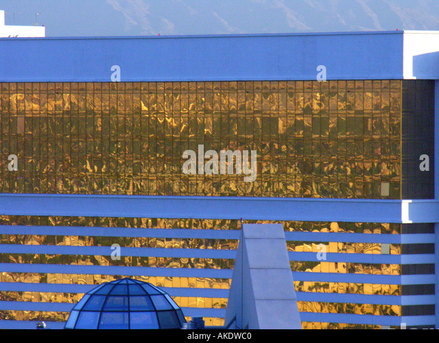 Las Vegas Nevada Mirage Hotel Gold Reflective Windows appearing futuristic - Stock Image