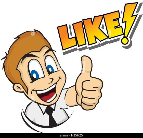thumb up cartoon character - Stock Image