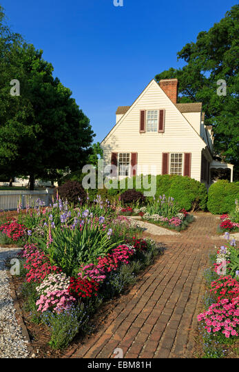 House in Colonial Williamsburg, Virginia, USA - Stock Image
