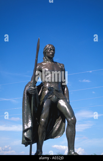 Enriquillo statue taino indian national hero cacique Dominican Republic - Stock Image