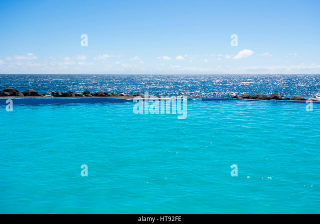 Swimming Pool on Coast at Los Barrancos, Tenerife, Canary Islands, Spain - Stock-Bilder