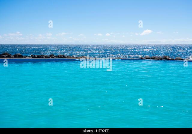 Swimming Pool on Coast at Los Barrancos, Tenerife, Canary Islands, Spain - Stock Image