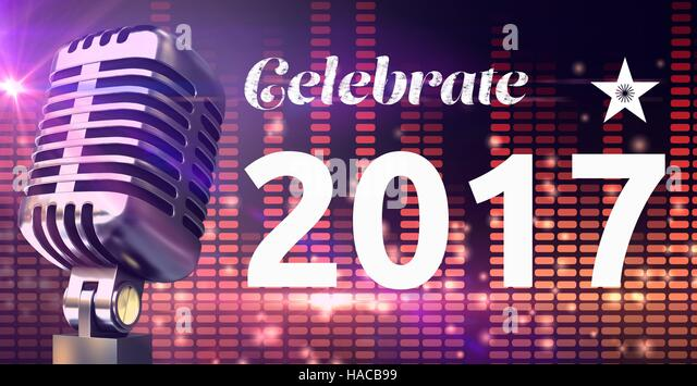 Digitally composite image 3D of 2017 new year message and microphone against equalizer background - Stock-Bilder