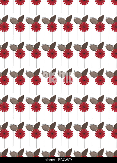 A decorative pattern consisting of flower illustrations - Stock Image