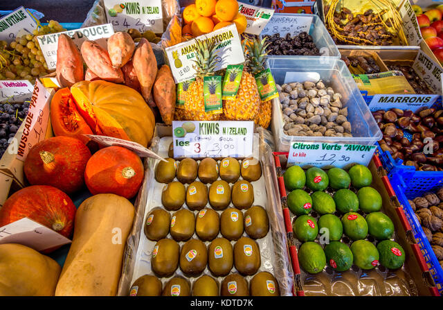 Fruit and vegetables on market stall - France. - Stock Image