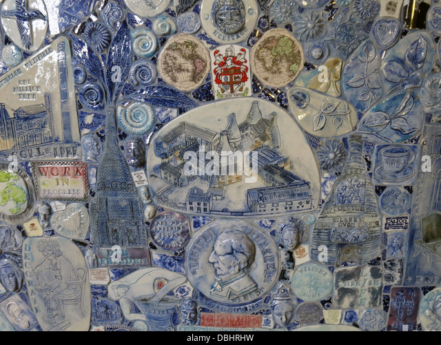 Detail of mosiac from Longton Stoke-On-Trent Great Britain showing potteries heritage at the Gladstone Pottery Museum - Stock Image
