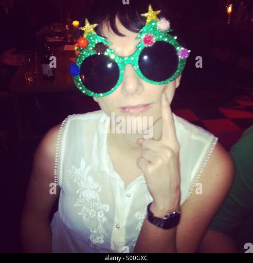 Christmas glasses - Stock Image