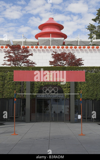 Olympic Museum Lausanne with Beijing 2008 exhibition - Stock Image