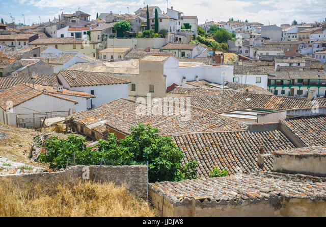 View from upper side of the historic small town Chinchon, near Madrid, Spain - Stock Image