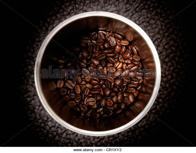 Close up of coffee beans in pot - Stock Image