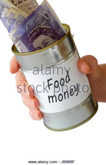 Food money, Begging tin can, England, UK - Stock Image