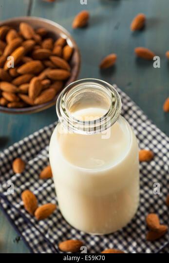 Organic White Almond Milk in a Jug - Stock Image