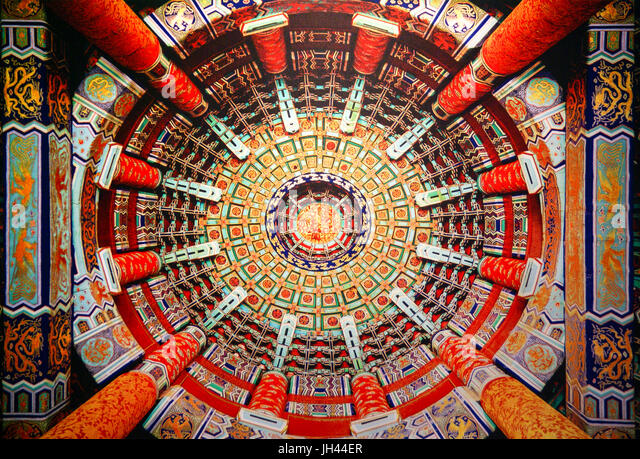 Beautiful ceiling architecture and decorative painting in the Temple of Heaven. Beijing, China - Stock Image