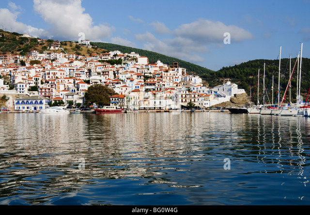 Skopelos Town, Skopelos, Sporades Islands, Greek Islands, Greece, Europe - Stock Image