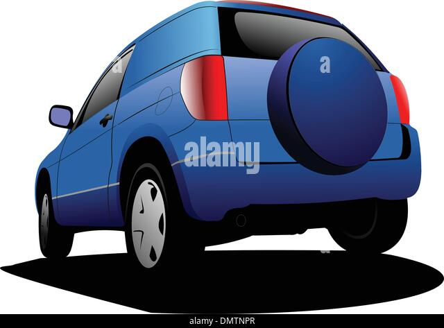 Blue colored car minivan on the road. Vector illustration - Stock Image