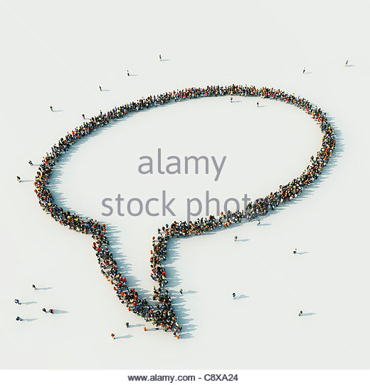 Aerial view of crowd of people arranged in speech bubble - Stock-Bilder