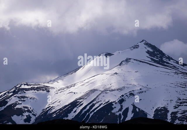 Snow on mountain at Torres del Paine National Park - Stock Image
