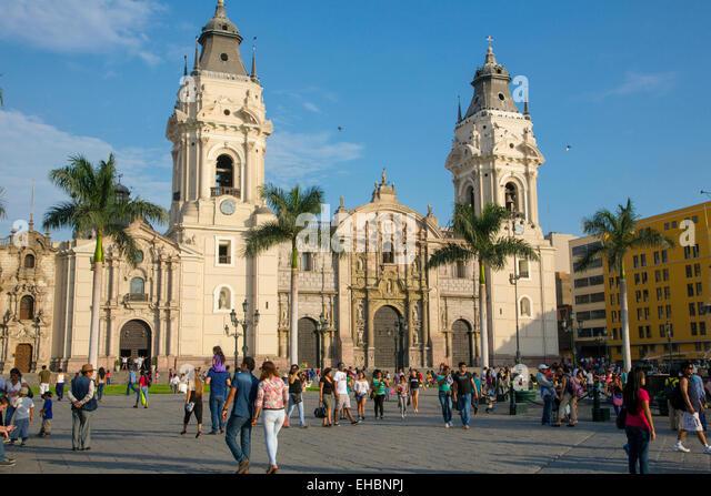 Plaza Mayor, Plaza de Armas, Cathedral of Lima, Ciudad de los Reyes, Historic center of the city, Lima, Peru - Stock Image