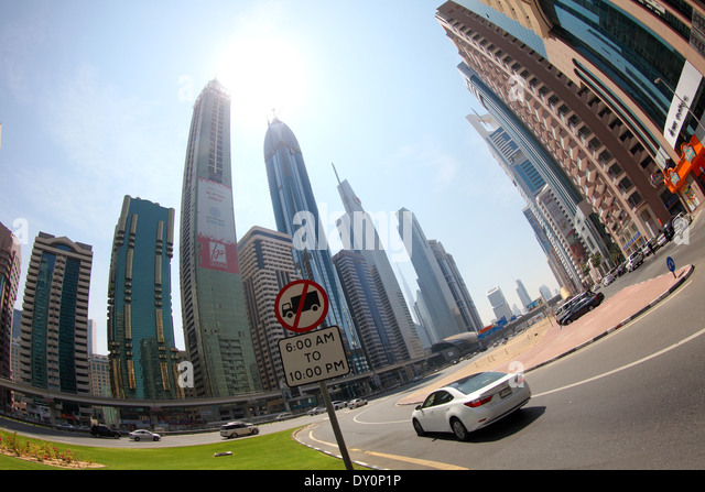 financial district, Sheikh Zayed road, buildings, high-rise, skyscrapers, modern architecture, Dubai - Stock Image