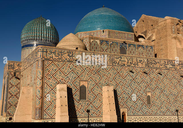 Evening light on Mausoleum of Khoja Ahmed Yasawi in Turkistan Kazakstan - Stock Image
