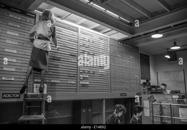 Vintage control room underground at Scotland's Secret Bunker in Troywood - Stock Image