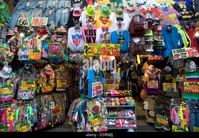 Trendy, fashionable, specialty clothing boutiques in Amerika-mura (American Village), Shinsaibashi, Osaka. - Stock Image