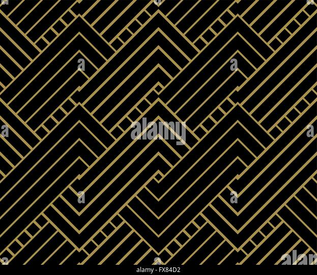 Geometric Gold shapes Background. Striped gold on black geometric pattern. Vector illustration. - Stock Image