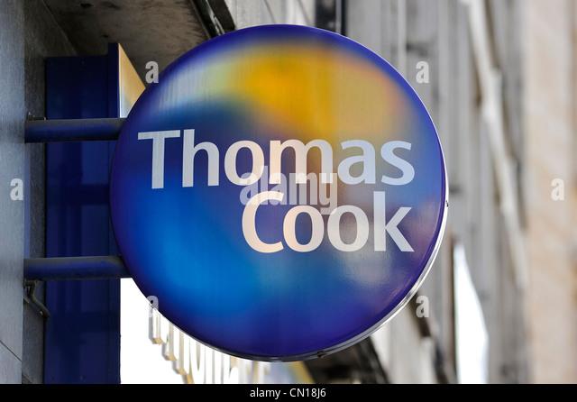 Signboard with logo of Thomas Cook travel agency, Flanders, Belgium - Stock-Bilder