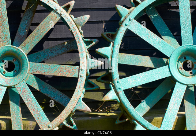 Large Tractor Wheels : Iron wheels stock photos images alamy