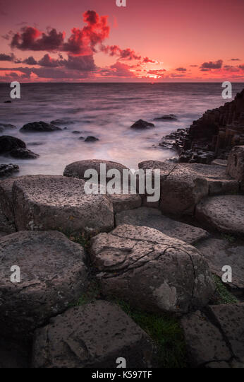 Sunset at the Giant's Causeway in County Antrim, Northern Ireland - Stock Image