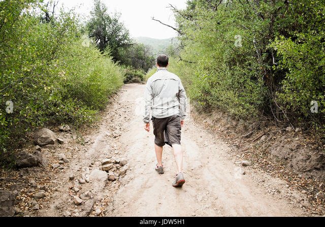 Rear view of man out walking - Stock-Bilder
