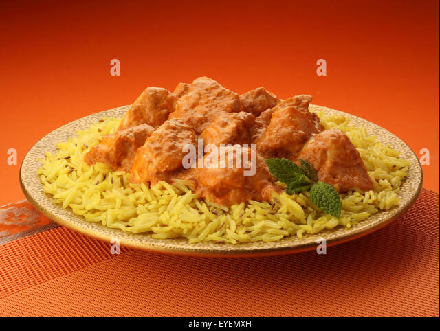 INDIAN BUTTER CHICKEN CURRY & BASMATI RICE - Stock Image