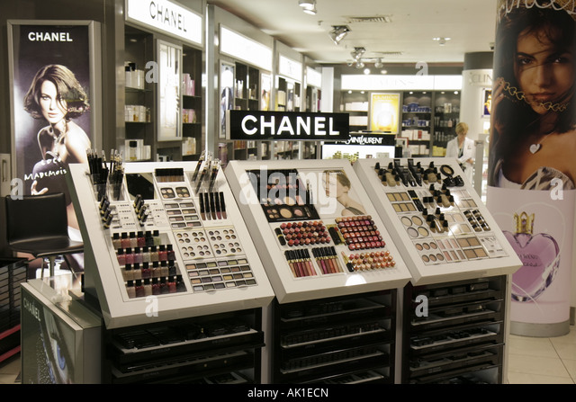 England Manchester UK Manchester Airport Chanel products makeup shopping - Stock Image