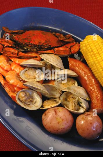 Seafood low country boil cedar key florida fl local cuisine foods - Stock Image