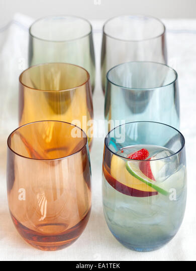colorful plastic glasses - Stock Image