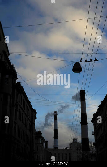 Pollution. Chimney. Sovetskaya's area. Saint Petersburg. Russia. - Stock Image