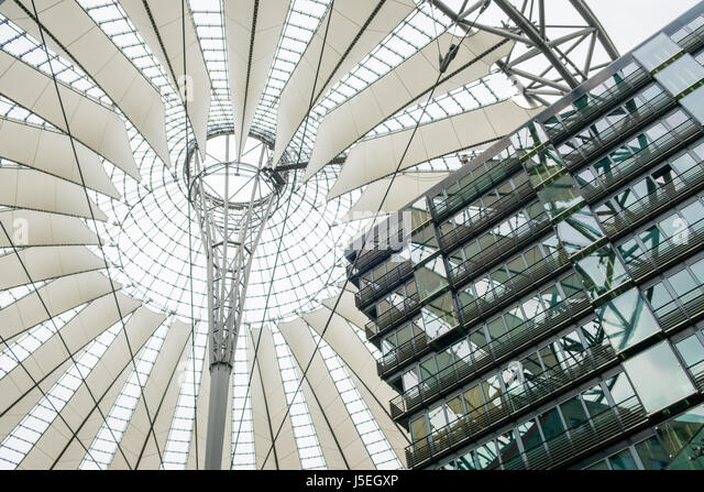 BErlin, Germany - may 16, 2017: Building detail of the Sony Center at Potsdamer Platz in Berlin, Germany - Stock Image