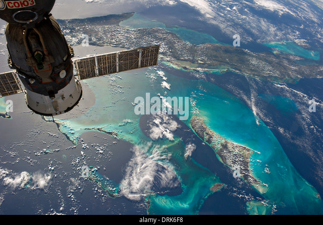 View from the International Space Station of the Caribbean showing Cuba and Andros Island in the Bahamas framed - Stock Image