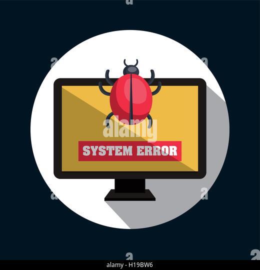 system error virus monitor design - Stock Image