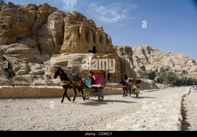 Jordan, Ancient Nabataean city of Petra. Tomb of the Obelisks. - Stock Image
