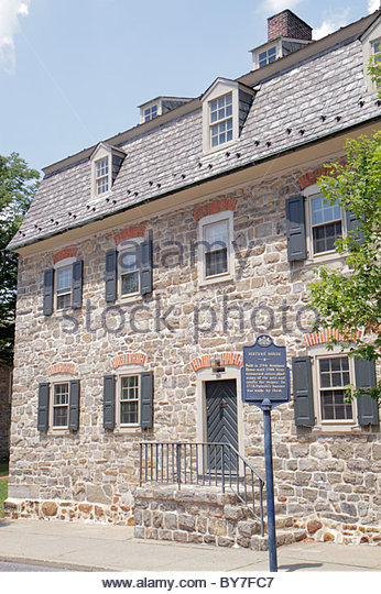 Pennsylvania Bethlehem National Register of Historic Places Colonial America Moravian community religious settlement - Stock Image