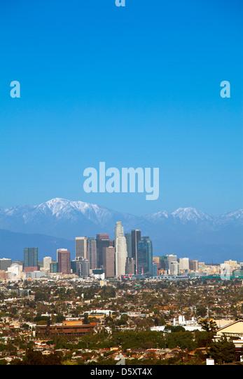 Los Angeles Skyline (2/2013), San Gabriel Mountains, California - Stock Image