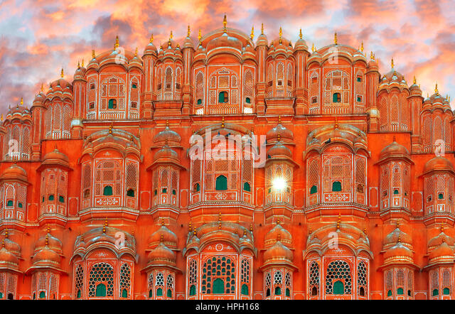 Hawa Mahal - palace complex of the Maharaja of Jaipur, India - Stock Image