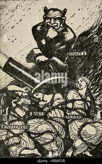 The Triumph of Hate - Political cartoon showing Civilization, Art, and Religion all tied up and hate smiling triumphantly - Stock Image