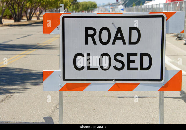 Closed road barrier stock photos
