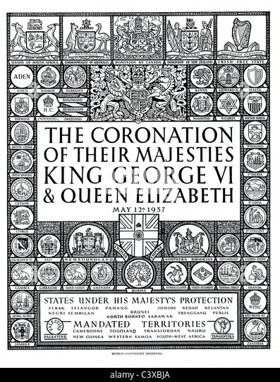 Page from official souvenir programme of The Coronation of Their Majesties King George VI and Queen Elizabeth, published - Stock-Bilder