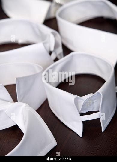 Various styles of gentlemans shirt collars all white - Stock-Bilder