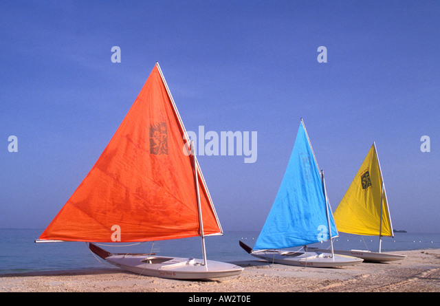 Jamaica Negril Sailboats on Beach - Stock Image