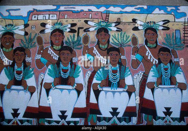 Albuquerque New Mexico Indian Pueblo Cultural Center mural by Native American artist NM NM - Stock Image