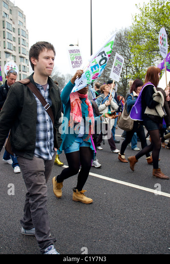 Protester marching at March for the Alternative rally organised by the TUC, London, England - Stock Image